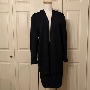 St. John Collection Black Knit Cardigan/Skirt Set